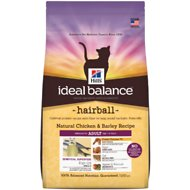 Hill's Ideal Balance Hairball Natural Chicken & Barley Recipe Adult Dry Cat Food, 3.5-lb bag
