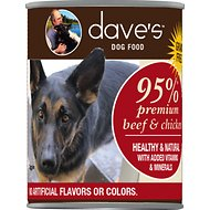 Dave's Pet Food 95% Premium Meats Grain-Free Beef & Chicken Recipe Canned Dog Food, 13-oz, case of 12