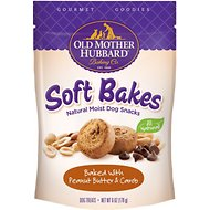 Old Mother Hubbard Gourmet Goodies Soft Bakes with Peanut Butter & Carob Moist Baked Dog Treats, 6-oz bag
