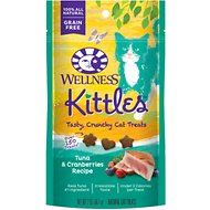 Wellness Kittles Grain-Free Tuna & Cranberries Recipe Crunchy Cat Treats, 2-oz bag