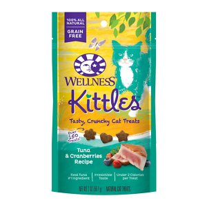 """Wellness Kittles Grain-Free Tuna & Cranberries Recipe Crunchy Cat Treats, 2-oz bag; Looking for a healthy treat for your kitty? Look no further than Wellness Kittles Crunchy Natural Grain Free Cat Treats, Tuna & Cranberries Recipe! Your feline friend will go head-over- paws for these delicious, all-natural, crunchy treats made with nutritious ingredients like tuna, cranberries, and blueberries. Additionally, their crunchiness is purr-fect for helping to clean your cat's teeth. These """"berry"""" tasty treats are less than two calories each and contain no artificial ingredients, so both you and your cat can feel good about giving and getting them!"""