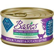Blue Buffalo Basics Limited Ingredient Grain-Free Indoor Turkey & Potato Entree Adult Canned Cat Food, 5.5-oz, case of 24
