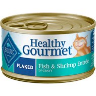 Blue Buffalo Healthy Gourmet Flaked Fish & Shrimp Entree in Gravy Canned Cat Food, 3-oz, case of 24