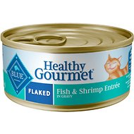 Blue Buffalo Healthy Gourmet Flaked Fish & Shrimp Entree in Gravy Canned Cat Food, 5.5-oz, case of 24
