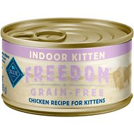 Blue Buffalo Freedom Indoor Kitten Chicken Recipe Grain-Free Canned Cat Food, 3-oz, case of 24