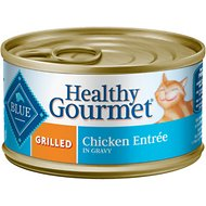 Blue Buffalo Healthy Gourmet Grilled Chicken Entree in Gravy Canned Cat Food, 3-oz, case of 24