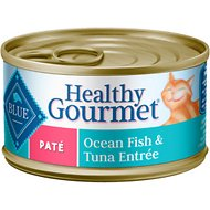 Blue Buffalo Healthy Gourmet Pate Ocean Fish & Tuna Entree Adult Canned Cat Food, 3-oz, case of 24