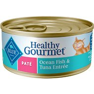 Blue Buffalo Healthy Gourmet Pate Ocean Fish & Tuna Entree Adult Canned Cat Food, 5.5-oz, case of 24