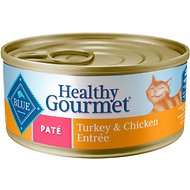 Blue Buffalo Healthy Gourmet Pate Turkey & Chicken Entree Adult Canned Cat Food, 5.5-oz, case of 24