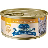 Blue Buffalo Wilderness Wild Delights Flaked Chicken & Turkey Grain-Free Canned Cat Food, 5.5-oz, case of 24