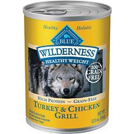 Blue Buffalo Wilderness Healthy Weight Turkey & Chicken Grill Grain-Free Adult Canned Dog Food, 12.5-oz, case of 12