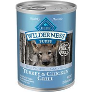 Blue Buffalo Wilderness Turkey & Chicken Grill Grain-Free Puppy Canned Dog Food, 12.5-oz, case of 12