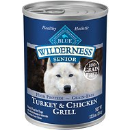 Blue Buffalo Wilderness Turkey & Chicken Grill Grain-Free Senior Canned Dog Food, 12.5-oz, case of 12