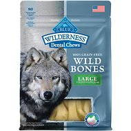 Blue Buffalo Wilderness Wild Bones Large Dental Chews Grain-Free Dog Treats, 10-oz bag