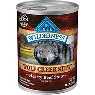 Blue Buffalo Wilderness Wolf Creek Stew Hearty Beef Stew Grain-Free Adult Canned Dog Food, 12.5-oz, case of 12