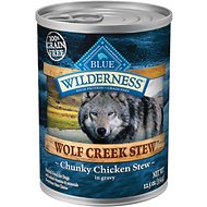 Blue Buffalo Wilderness Wolf Creek Stew Chunky Chicken Stew Grain-Free Adult Canned Dog Food, 12.5-oz, case of 12