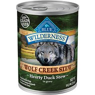 Blue Buffalo Wilderness Wolf Creek Stew Hearty Duck Stew Grain-Free Adult Canned Dog Food, 12.5-oz, case of 12