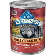 Blue Buffalo Wilderness Wolf Creek Stew Savory Salmon Stew Grain-Free Adult Canned Dog Food, 12.5-oz, case of 12