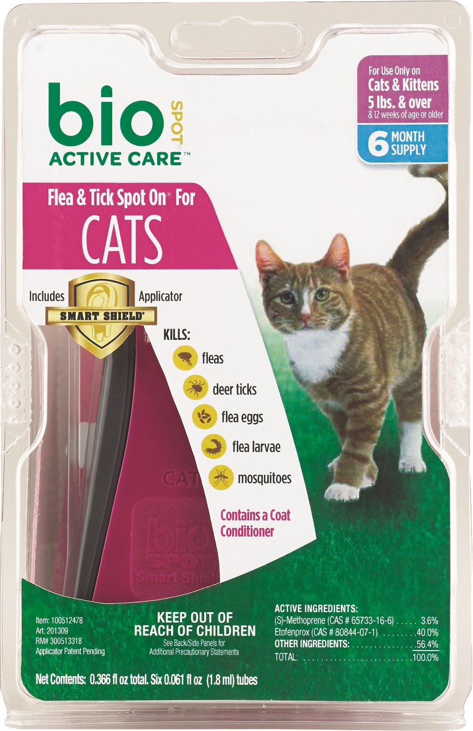 Bio Spot Active Care Flea Tick On For Cats 5 Pounds And Over 6 Month Supply Chewy