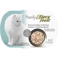 Purely Fancy Feast Seabass & Shrimp Tray Cat Food, 2-oz, case of 10