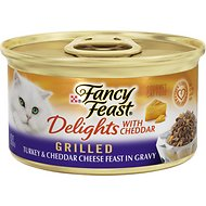 Fancy Feast Delights with Cheddar Grilled Turkey & Cheddar Cheese Feast in Gravy Canned Cat Food, 3-oz, case of 24