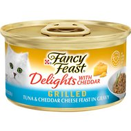 Fancy Feast Delights with Cheddar Grilled Tuna & Cheddar Cheese Feast in Gravy Canned Cat Food, 3-oz, case of 24