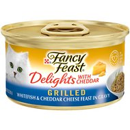 Fancy Feast Delights with Cheddar Grilled Whitefish & Cheddar Cheese Feast in Gravy Canned Cat Food, 3-oz, case of 24