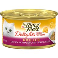 Fancy Feast Delights with Cheddar Grilled Chicken & Cheddar Cheese Feast in Gravy Canned Cat Food, 3-oz, case of 24