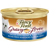 Fancy Feast Gravy Lovers Ocean Whitefish & Tuna Feast in Sauteed Seafood Flavor Gravy Canned Cat Food, 3-oz, case of 24