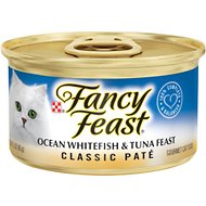 Fancy Feast Classic Ocean Whitefish & Tuna Feast Canned Cat Food, 3-oz, case of 24