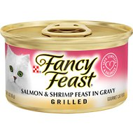 Fancy Feast Grilled Salmon & Shrimp Feast in Gravy Canned Cat Food, 3-oz, case of 24