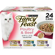 Fancy Feast Grilled Poultry & Beef Feast Variety Pack Canned Cat Food, 3-oz, case of 24