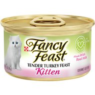 Fancy Feast Kitten Tender Turkey Feast Canned Cat Food, 3-oz, case of 24