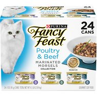 Fancy Feast Marinated Morsels Poultry & Beef Feast Variety Pack Canned Cat Food, 3-oz, case of 24
