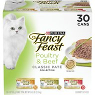 Fancy Feast Classic Poultry & Beef Feast Variety Pack Canned Cat Food, 3-oz, case of 30