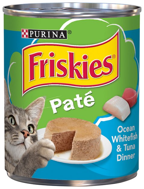 Friskies classic pate ocean whitefish tuna dinner canned for Friskies cat fishing