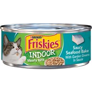 Friskies Indoor Saucy Seafood Bake Canned Cat Food, 5.5-oz, case of 24