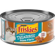 Friskies Tasty Treasures with Chicken & Cheese in Gravy Canned Cat Food, 5.5-oz, case of 24