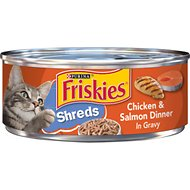 Friskies Savory Shreds Chicken & Salmon Dinner in Gravy Canned Cat Food, 5.5-oz, case of 24