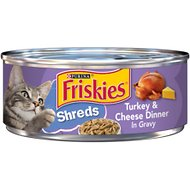 Friskies Savory Shreds Turkey & Cheese Dinner in Gravy Canned Cat Food, 5.5-oz, case of 24