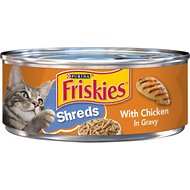 Friskies Savory Shreds with Chicken in Gravy Canned Cat Food, 5.5-oz, case of 24