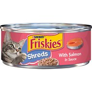 Friskies Savory Shreds with Salmon in Sauce Canned Cat Food, 5.5-oz, case of 24