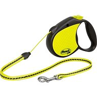 Flexi Neon Reflect Retractable Cord & Tape Dog Leash, Black/Yellow, Small