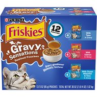 Friskies Gravy Sensations Seafood Favorites Cat Food Pouches, 3-oz pouch, case of 12