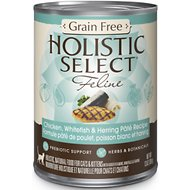 Holistic Select Chicken, Whitefish & Herring Pate Recipe Grain-Free Canned Cat & Kitten Food, 13-oz, case of 12