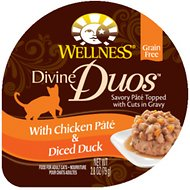 Wellness Divine Duos with Chicken Pate & Diced Duck Grain-Free Wet Cat Food, 2.8-oz, case of 24