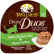 Wellness Divine Duos with Chicken Pate & Diced Turkey Grain-Free Wet Cat Food, 2.8-oz, case of 24