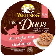 Wellness Divine Duos with Chicken Pate & Diced Salmon Grain-Free Wet Cat Food, 2.8-oz, case of 24