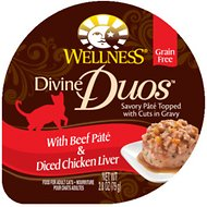 Wellness Divine Duos with Beef Pate & Diced Chicken Liver Grain-Free Wet Cat Food, 2.8-oz, case of 24
