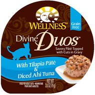 Wellness Divine Duos with Tilapia Pate & Diced Ahi Tuna Grain-Free Wet Cat Food, 2.8-oz, case of 24